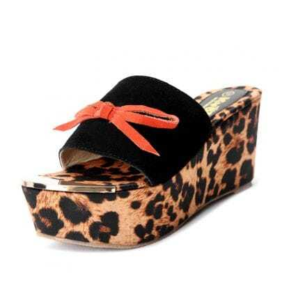 Black Corrected Grain Leather Bow Leopard 85mm Sandals