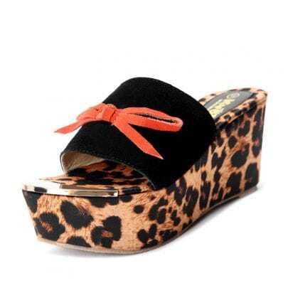 Black CorrectedGrainLeather Bow Leopard 85mm Sandals