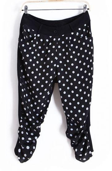 Black Polka Dot Chiffon High Waist Pants with Patched Cotton Back