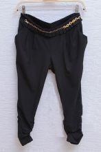 Black Pleated Pockets Chiffon Pants with Metal Chain Waist