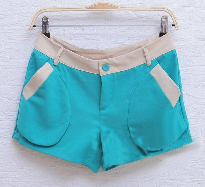 Green Straight Color Block With Pockets Shorts