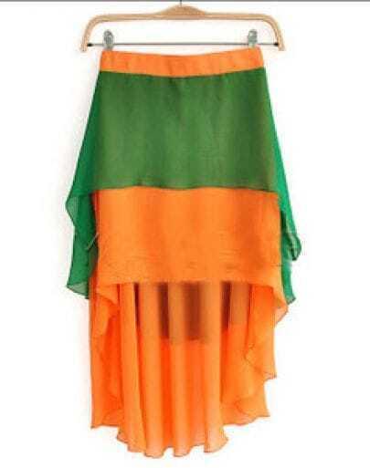 Orange Green Block Layers High-low Chiffon Skirt