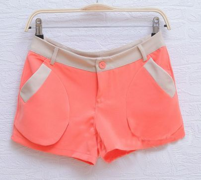 Orange Straight Color Block With Pockets Shorts