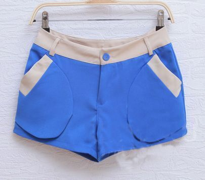 Blue Straight Color Block With Pockets Shorts