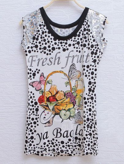 White Fresh Fruit Polka Dot Sequin Sleeveless Round Neck T-shirt