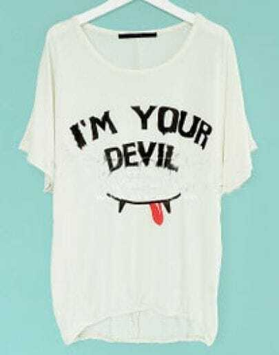 Beige I'M YOUR DEVIL Round Neck Bat Sleeve Elastic Waist T-shirt