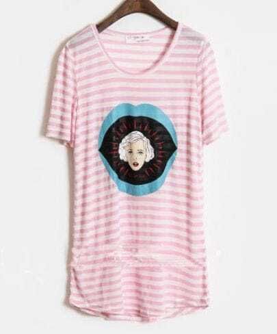 Pink Women Face Printed Striped Short Sleeve Curved Hem T-shirt
