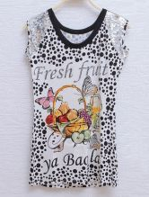 White Fresh Fruit Polka Dot Sequin Sleeveless Round Neck T-shirt