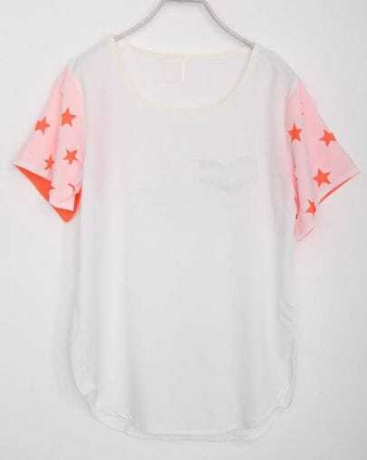 White Star Print Short Sleeve Curved Hem T-shirt With Pocket