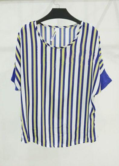 Yellow and Blue Block Loose Striped Bat Sleeve Chiffon T-shirt