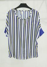 Yellow and Blue Block Loose Striped Bat Sleeve Chiffon T-shirt