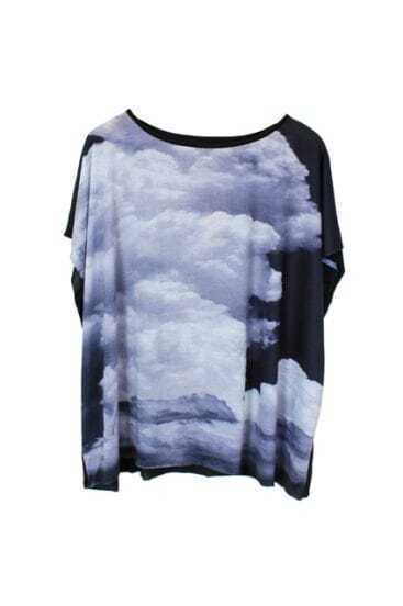 White Cloud Print Dolman Short Sleeve T-shirt