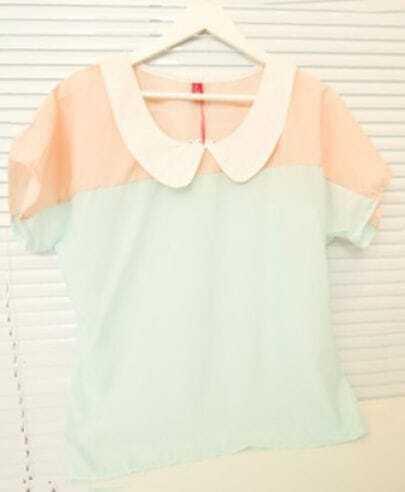 Pink Green Contrast Collar Short Sleeve Chiffon Blouse