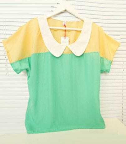 Yellow Green Contrast Collar Short Sleeve Chiffon Blouse