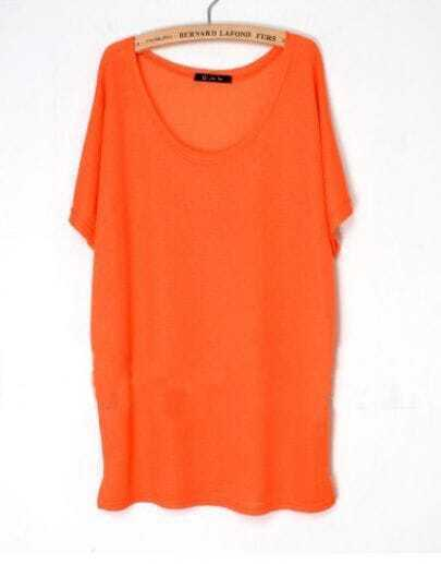 Orange Scoop Neck Oversized Batwing Cotton Long T-shirt
