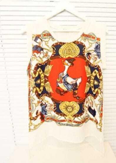 Beige Duck Tribal Print Chiffon Sleeveless Split Side Blouse