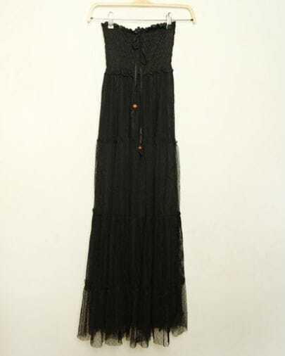 Black Lace Bohemian Maxi Bustier Dress with Tie Front