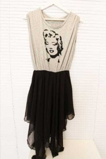 Grey Marilyn Monroe Print Contrast Black Chiffon Layers Asymmetrical Dress
