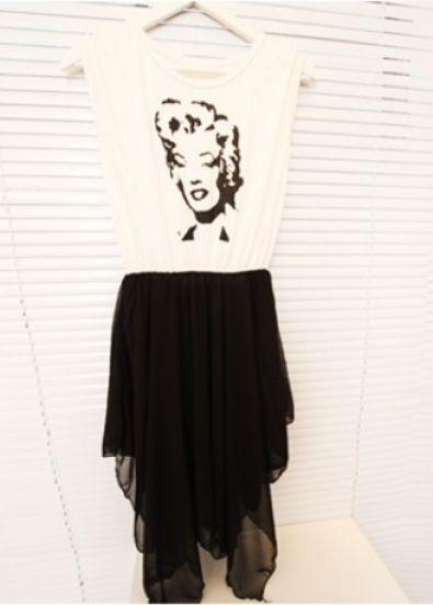 White Marilyn Monroe Print Contrast Black Chiffon Layers Asymetric Dress
