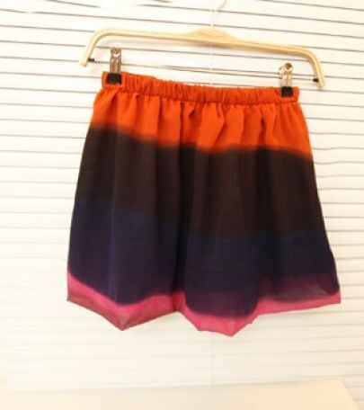 Pink Tie Dye Striped Double-layer Chiffon Elastic Waist Skirt