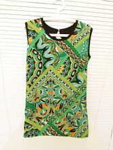 Green Geometric Print Sleeveless Tank Chiffon Dress With Belt