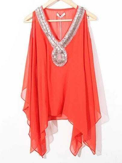 Red V-neck Rhinestone Beaded Cut Out Shoulder Asymmetrical Chiffon Blouse