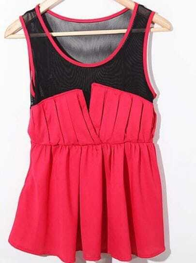 Red Sleeveless Contrast Mesh Chiffon Pleated Blouse