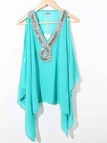 Blue V-neck Rhinestone Beaded Cut Out Shoulder Asymmetrical Chiffon Blouse