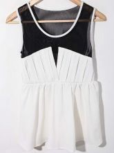White Sleeveless Contrast Mesh Chiffon Pleated Blouse