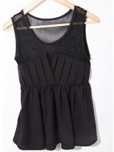 Black Sleeveless Contrast Mesh Chiffon Pleated Blouse