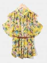 Yellow Cold Sleeve Floral Pleated Chiffon Belted Shirt