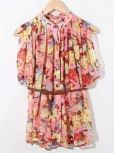 Pink Cold Sleeve Floral Pleated Chiffon Belted Shirt