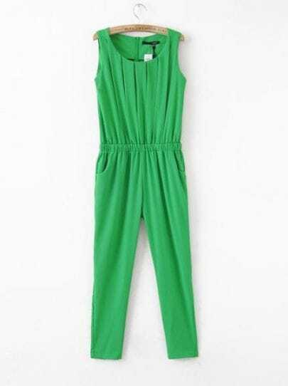 Green Round Neck Sleeveless Pleated High Waist Chiffon Jumpsuit