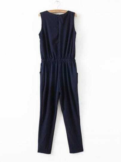 Navy Round Neck Sleeveless Pleated High Waist Chiffon Jumpsuit