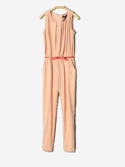 Pink Round Neck Sleeveless Pleated High Waist Chiffon Jumpsuit