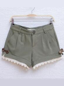 Green Casual Pierced Color Block Bow Mid Waist Cotton Shorts