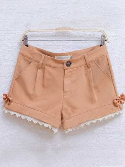 Yellow Casual Pierced Color Block Bow Mid Waist Cotton Shorts