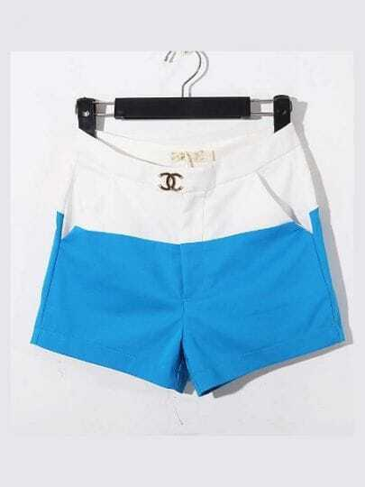Blue And White Color Block High Waist Cotton Shorts
