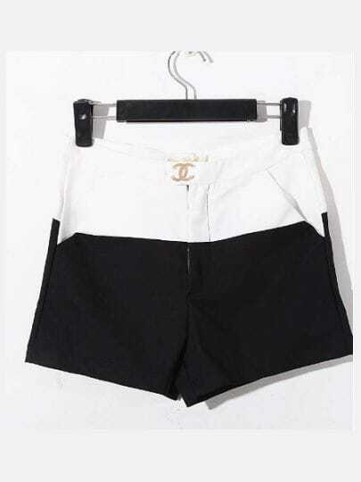 Black And White Color Block High Waist Cotton Shorts
