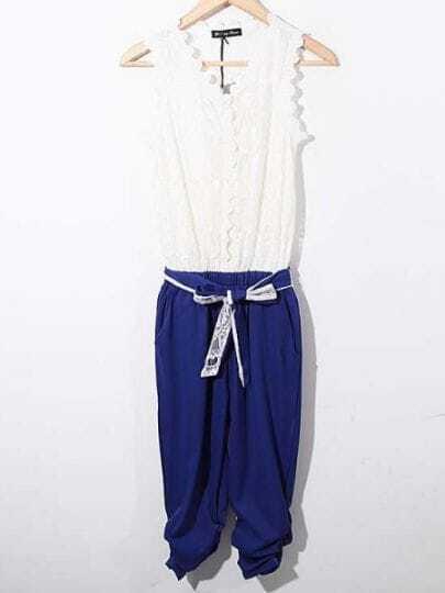 Blue Lace Color Block Sleeveless Mid Waist Jumpsuit