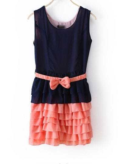 Blue And Pink Color Block Round Neck Sleeveless Bow Cascading Ruffle Dress