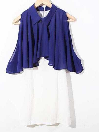 Blue Lapel Sleeveless Color Block High Waist Chiffon Dress