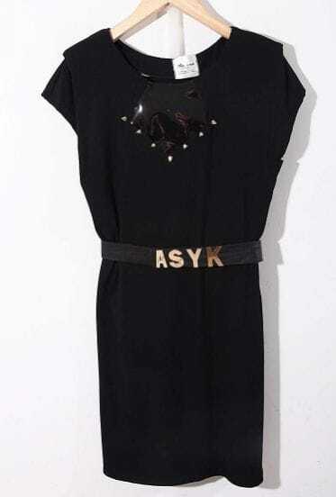 Black Round Neck Short Sleeve Batwing Ruffles Cotton Dress