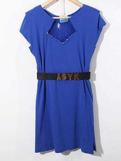Blue Round Neck Short Sleeve Batwing Ruffles Cotton Dress