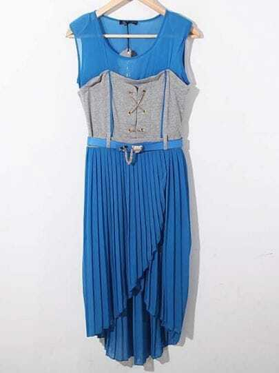 Blue Round Neck Sleeveless Pleated Asymmetrical Chiffon Dress