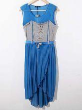 Blue Round Neck Sleeveless Pleated Asymmetrical Chiffon Dress