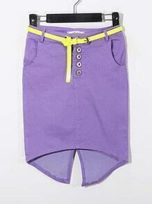 Purple Split Back With Belt High-Waist Flexible Short Skirt