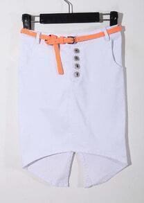 White Split Back With Belt High-Waist Flexible Short Skirt