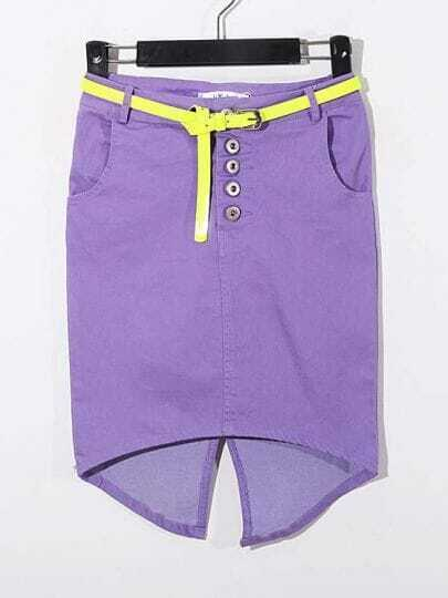 Purple Split Back With Belt High-Waist Flexible Short Skirt