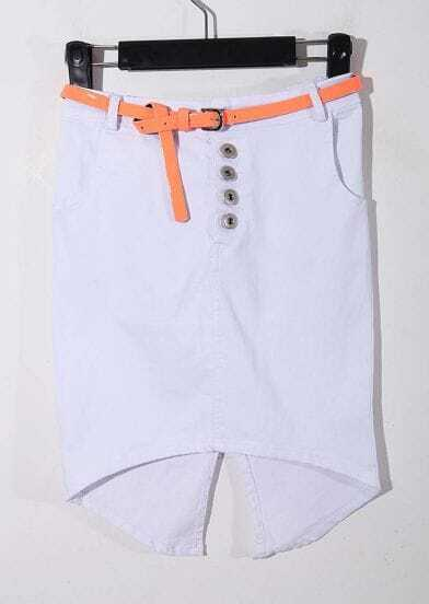 White Split Back With Belt High-Waist Flexible Short Skirt